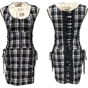 Hell Bunny Zip Up Mini Dress Corset Plaid Gothic S